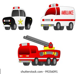 Rescue Vehicles A set of 3 Rescue Vehicles (Fire Engine, Ambulance, Police Car).