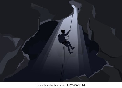 Rescuers or climber fast rope in the dark caves