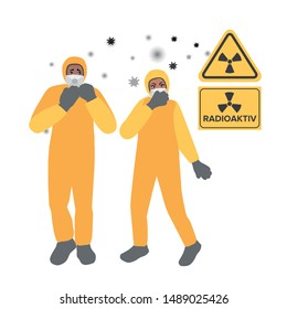 Rescuers in gas masks and radiation protective suits. Radioactive chemical pollution of the environment. Emergency, accident. Vector illustration