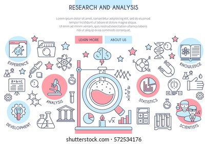 Research and Analysis Illustration with Icons. Web Design Concept in Flat Line Style. Vector illustration