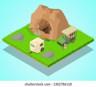 Research of cave concept banner. Isometric banner of research of cave vector concept for web, giftcard and postcard