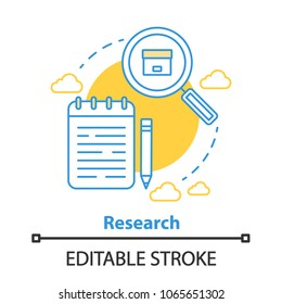 Research concept icon. Information search idea thin line illustration. Vector isolated outline drawing. Editable stroke