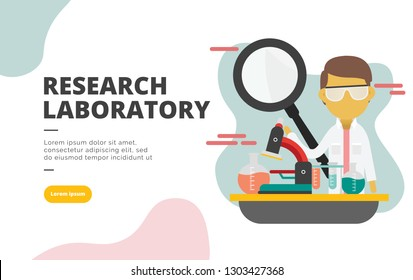 Research Laboratory flat design banner illustration concept for digital marketing and business promotion