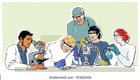 Research laboratory in retro style Young scientists working in the lab under the guidance of senior doctor. Hand drawn vector illustration. Healthcare concept.