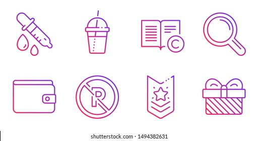 Research, No parking and Coffee cocktail line icons set. Copyright, Money wallet and Chemistry pipette signs. Shoulder strap, Gift symbols. Magnifying glass, Car park. Gradient research icon. Vector