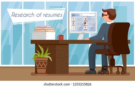 Research of Resumes. HR Agency Concept. Human Resource. Staff Recruitment. Sign Up for Job Interview. Male HR Manager in Workplace. Working Time in Office Set. Vector Flat Illustration.