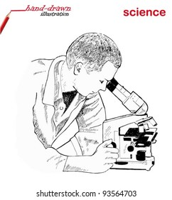 research scientist in lab coat looking into the microscope in laboratory - hand-drawn illustration