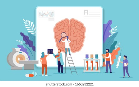 Research scientist. Science laboratory, chemistry scientists and clinical lab. Medical research items, clinical science laboratories experiments. Brain, mental health, digital brain scans, concept