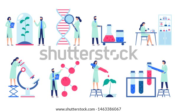 Research scientist. Science laboratory, chemistry scientists and clinical lab. Medical research items, clinical science laboratories experiments. Isolated flat vector illustration icons set