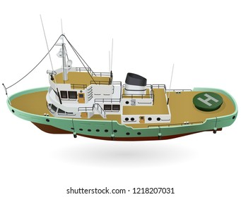 Research ship, marine exploration boat for scientists. Rescue vessel with sonar, new modern motorboat for discovering of water. Vector illustration, isolated on white background