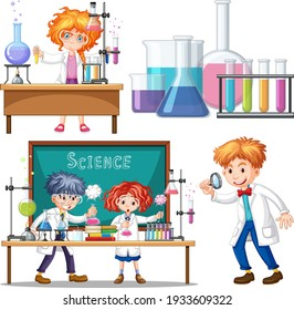 Researcher experiment in the laboratory illustration