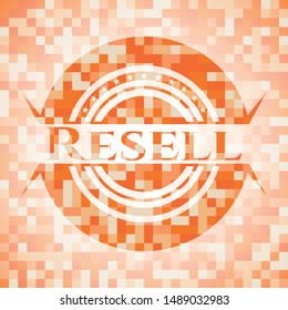 Resell abstract emblem, orange mosaic background