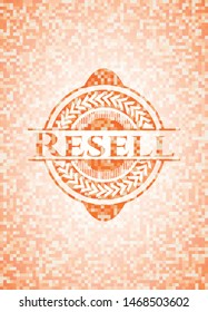 Resell abstract orange mosaic emblem