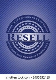 Resell badge with denim background. Vector Illustration. Detailed.