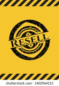 Resell black grunge emblem with yellow background. Vector Illustration. Detailed.