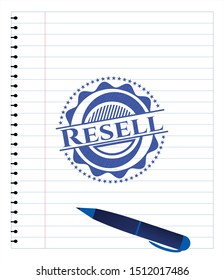 Resell draw with pen effect. Blue ink. Vector Illustration. Detailed.