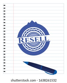 Resell emblem draw with pen effect. Blue ink. Vector Illustration. Detailed.