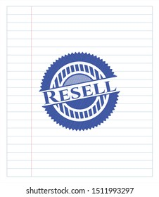 Resell emblem drawn with pen. Blue ink. Vector Illustration. Detailed.