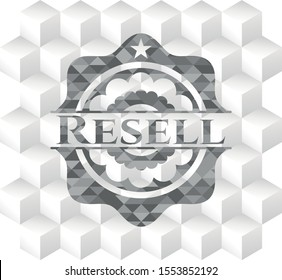 Resell grey emblem with cube white background