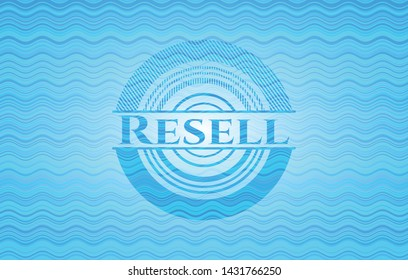 Resell sky blue water badge. Vector Illustration. Detailed.