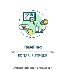 Reselling concept icon. Internet shopping. E commerce to purchase product. Sell used goods online idea thin line illustration. Vector isolated outline RGB color drawing. Editable stroke
