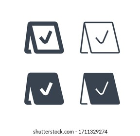 Reservation line vector minimalistic icon. Note message vector symbol. Service party icons set for web design. Modern flat exclusive reserved icon for app design. Information sign minimal flat linear