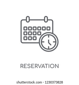 Reservation linear icon. Modern outline Reservation logo concept on white background from Hotel and Restaurant collection. Suitable for use on web apps, mobile apps and print media.