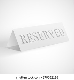 Reservation sign - vector eps10