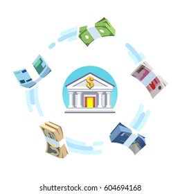 Reserve world currencies circulation concept. Foreign money banking exchange. US, European, Great Britain, China & Japan cash bundles rotating around bank icon. Flat style vector isolated illustration