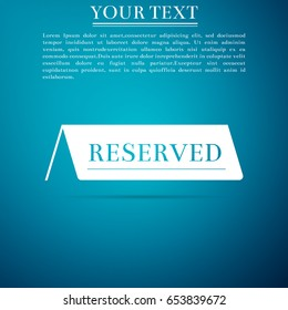 Reserved flat icon on blue background. Vector Illustration