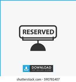 reserved icon. Simple filled reserved vector icon. On white background.