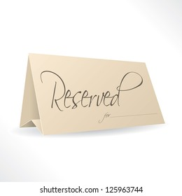 Reserved note with place for name on white background