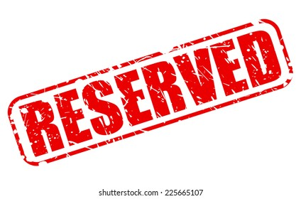 Reserved red stamp text on white