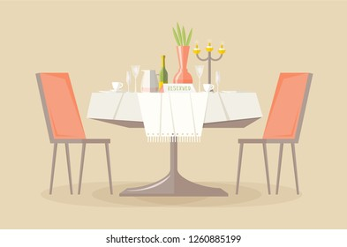 Reserved restaurant or cafe table with tablecloth, candles in candlestick, plant, wineglasses, reservation tabletop sign on it and two chairs. Place for romantic date. Flat vector illustration.