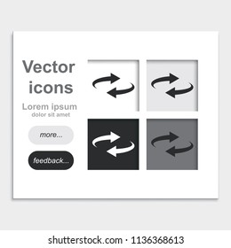 Reset button, reload arrows symbol placed on web page template flat vector icon.