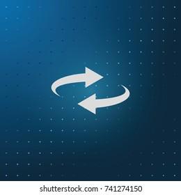 Reset button, reload arrows symbol. Flat illustration.