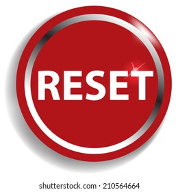 reset circular icon red on white background