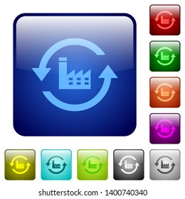 Reset to factory defaults icons in rounded square color glossy button set