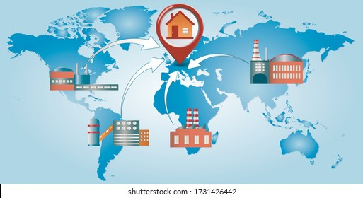 Reshoring concept. Factories companies come home. Increased protectionism. Self-sufficiency. Automated supply chain. Avoid production chain disruption. Local production. World map