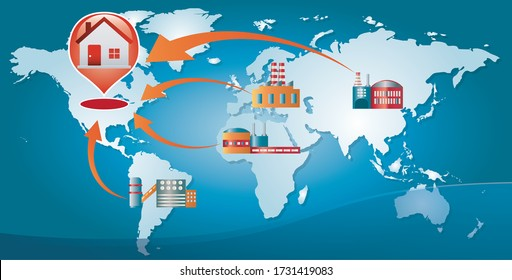 Re-shoring concept. Local production. Factories companies come home. Increased protectionism. Local production self-sufficiency. Automated supply chain. Avoid production chain disruption