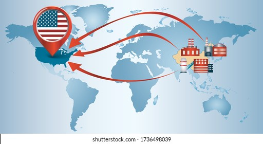 Re-shoring. Local production. Factories companies from China return to the USA. Protectionism. Local production self-sufficiency. Automated supply chain. Avoid production chain disruption