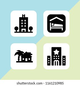 residence icon. 4 residence set with accomodation and hotel vector icons for web and mobile app
