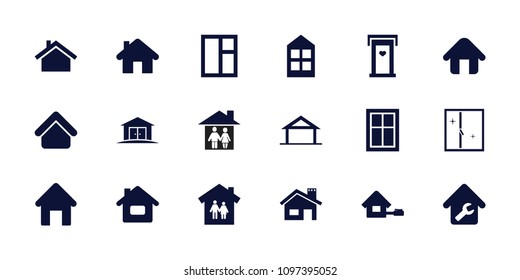Residence icon. collection of 18 residence filled icons such as home, house building, door with heart, window, family house. editable residence icons for web and mobile.