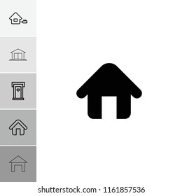 Residence icon. collection of 6 residence filled and outline icons such as home, door with heart. editable residence icons for web and mobile.