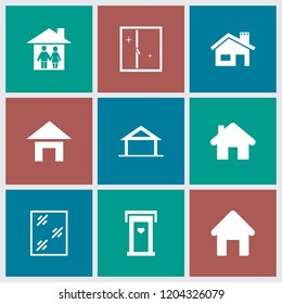 Residence icon. collection of 9 residence filled icons such as home, house building, door with heart, window. editable residence icons for web and mobile.