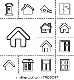 Residence icons. set of 13 editable outline residence icons such as house building, window, home