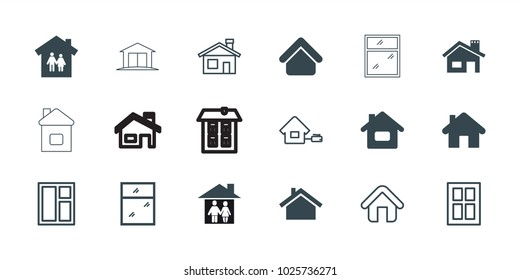 Residence icons. set of 18 editable filled and outline residence icons: house building, home, family house