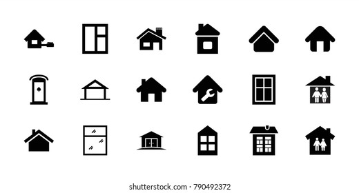 Residence icons. set of 18 editable filled residence icons: home, house building, window, family house, home repair