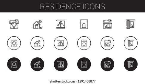 residence icons set. Collection of residence with house, window, home. Editable and scalable residence icons.