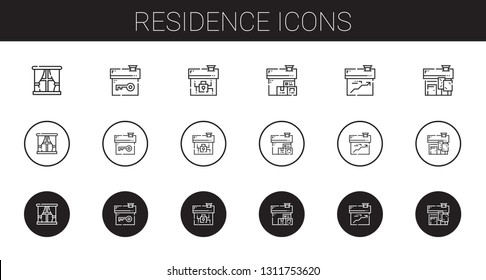 residence icons set. Collection of residence with window, house. Editable and scalable residence icons.